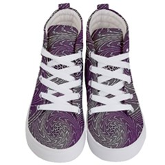 Graphic Abstract Lines Wave Art Kid s Hi Top Skate Sneakers