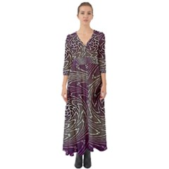 Graphic Abstract Lines Wave Art Button Up Boho Maxi Dress