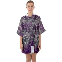 Graphic Abstract Lines Wave Art Quarter Sleeve Kimono Robe
