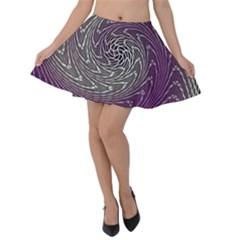 Graphic Abstract Lines Wave Art Velvet Skater Skirt