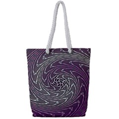 Graphic Abstract Lines Wave Art Full Print Rope Handle Tote (small)