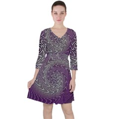 Graphic Abstract Lines Wave Art Ruffle Dress