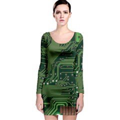 Board Computer Chip Data Processing Long Sleeve Bodycon Dress