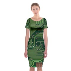 Board Computer Chip Data Processing Classic Short Sleeve Midi Dress