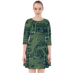 Board Computer Chip Data Processing Smock Dress