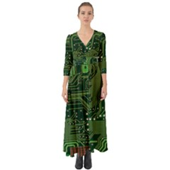Board Computer Chip Data Processing Button Up Boho Maxi Dress