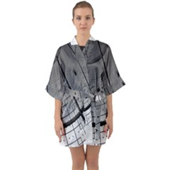 Graphic Design Background Quarter Sleeve Kimono Robe