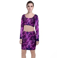 Fractal Art Digital Art Long Sleeve Crop Top & Bodycon Skirt Set