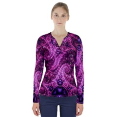 Fractal Art Digital Art V Neck Long Sleeve Top