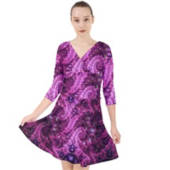 Fractal Art Digital Art Quarter Sleeve Front Wrap Dress