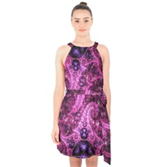 Fractal Art Digital Art Halter Collar Waist Tie Chiffon Dress