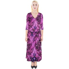 Fractal Art Digital Art Quarter Sleeve Wrap Maxi Dress