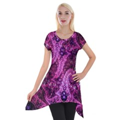Fractal Art Digital Art Short Sleeve Side Drop Tunic