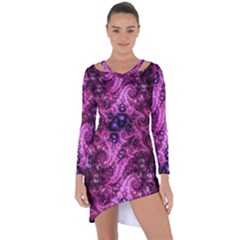 Fractal Art Digital Art Asymmetric Cut Out Shift Dress