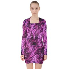 Fractal Art Digital Art V Neck Bodycon Long Sleeve Dress