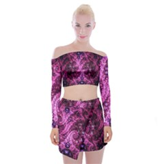 Fractal Art Digital Art Off Shoulder Top With Mini Skirt Set