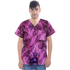 Fractal Art Digital Art Men s V Neck Scrub Top