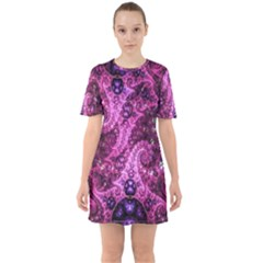 Fractal Art Digital Art Sixties Short Sleeve Mini Dress