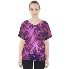Fractal Art Digital Art V Neck Dolman Drape Top