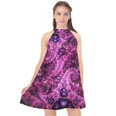 Fractal Art Digital Art Halter Neckline Chiffon Dress