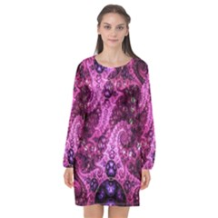 Fractal Art Digital Art Long Sleeve Chiffon Shift Dress