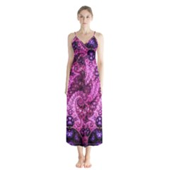 Fractal Art Digital Art Button Up Chiffon Maxi Dress