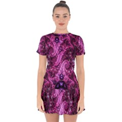 Fractal Art Digital Art Drop Hem Mini Chiffon Dress