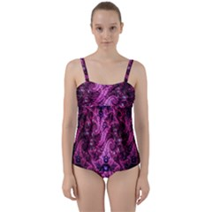 Fractal Art Digital Art Twist Front Tankini Set