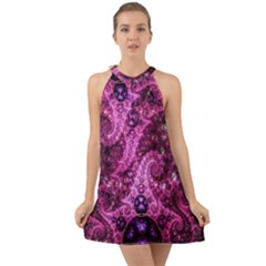 Fractal Art Digital Art Halter Tie Back Chiffon Dress
