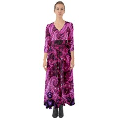 Fractal Art Digital Art Button Up Boho Maxi Dress