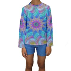 Fractal Curve Decor Twist Twirl Kids  Long Sleeve Swimwear