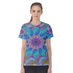 Fractal Curve Decor Twist Twirl Women s Cotton Tee
