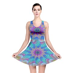Fractal Curve Decor Twist Twirl Reversible Skater Dress