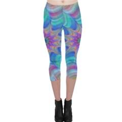 Fractal Curve Decor Twist Twirl Capri Leggings