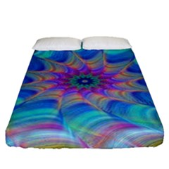 Fractal Curve Decor Twist Twirl Fitted Sheet (queen Size)
