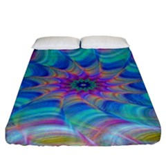 Fractal Curve Decor Twist Twirl Fitted Sheet (california King Size)