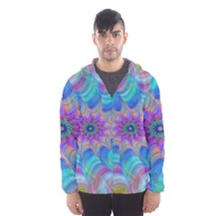 Fractal Curve Decor Twist Twirl Hooded Wind Breaker (men)