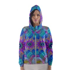 Fractal Curve Decor Twist Twirl Hooded Wind Breaker (women)