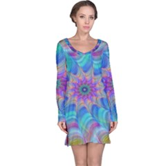 Fractal Curve Decor Twist Twirl Long Sleeve Nightdress