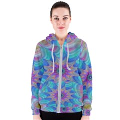 Fractal Curve Decor Twist Twirl Women s Zipper Hoodie