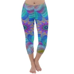 Fractal Curve Decor Twist Twirl Capri Winter Leggings