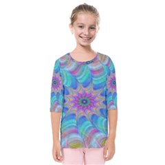 Fractal Curve Decor Twist Twirl Kids  Quarter Sleeve Raglan Tee