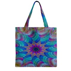 Fractal Curve Decor Twist Twirl Zipper Grocery Tote Bag