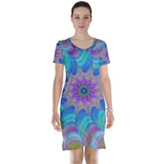 Fractal Curve Decor Twist Twirl Short Sleeve Nightdress