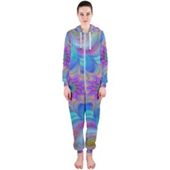 Fractal Curve Decor Twist Twirl Hooded Jumpsuit (ladies)