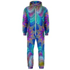 Fractal Curve Decor Twist Twirl Hooded Jumpsuit (men)