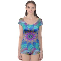 Fractal Curve Decor Twist Twirl Boyleg Leotard