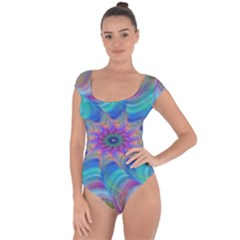 Fractal Curve Decor Twist Twirl Short Sleeve Leotard
