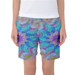 Fractal Curve Decor Twist Twirl Women s Basketball Shorts