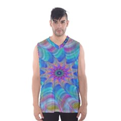 Fractal Curve Decor Twist Twirl Men s Basketball Tank Top